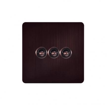 Dark Bronze Toggle Light Switch, 3 Lever