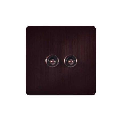 Dark Bronze Toggle Light Switch, 2 Lever