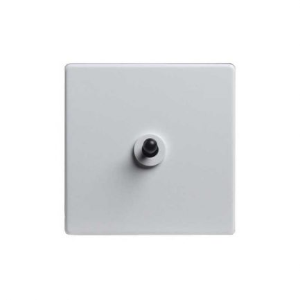 Modern White Black Toggle Light Switch, 1 Lever