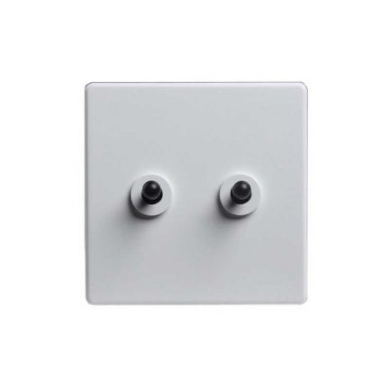 modern toggle light switch, 2 gang