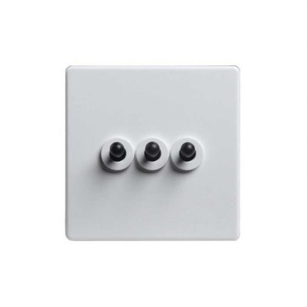 Modern White Black Toggle Light Switch, 3 Lever