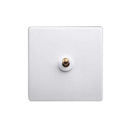white brass toggle light switch, 1 gang