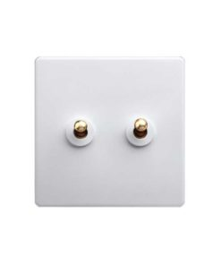 Classic White with Brass Toggle - 2 Lever