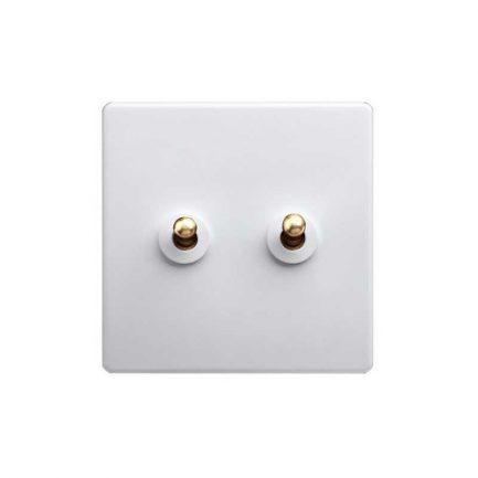 White Brass Toggle Light Switch, 2 Lever