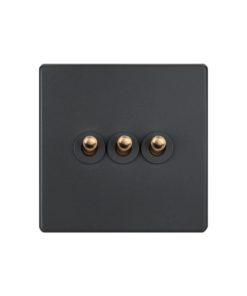 elegant grey brass toggle light switch 3 gang