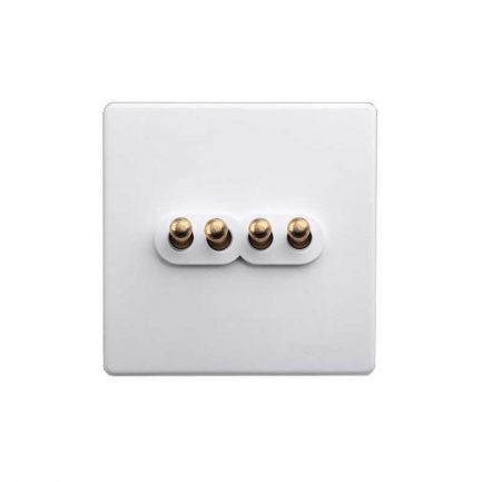 White Brass Toggle Light Switch, 4 Lever