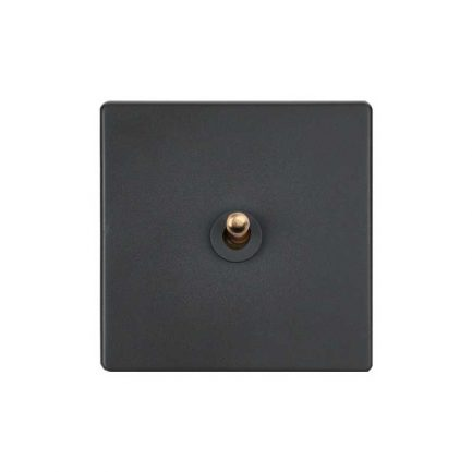 Classic Grey with Brass Toggle Light Switch – 1 lever