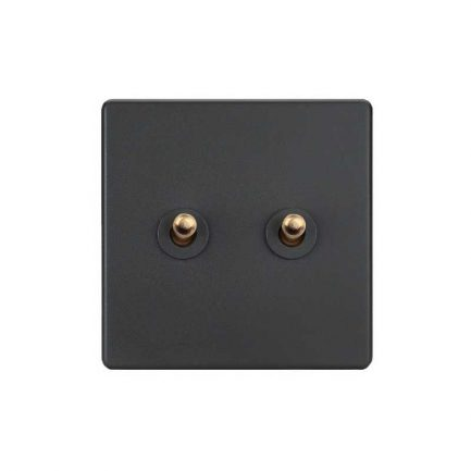 Elegant Grey Toggle Light Switch, 2 Lever
