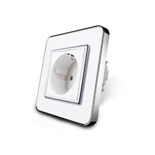 white glass wall plug socket