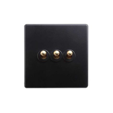 Classy Black Brass Toggle Light Switch, 3 Lever