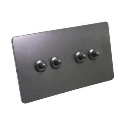 Bastille Black Toggle Light Switch – 4 levers