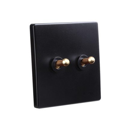 Classy Black Brass Toggle Light Switch, 2 Lever