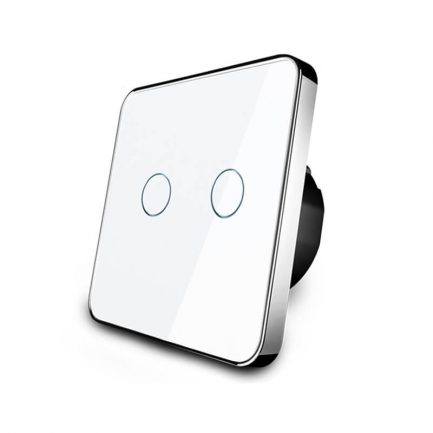 Houdini White Smart Touch Light Switch, 2 Gangs