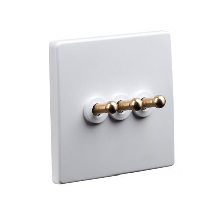 White Brass Toggle Light Switch, 3 Lever