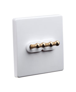 Classic White with Brass Toggle - 4 Lever