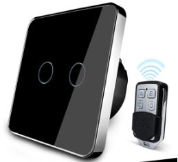 Smart Remote Switch – Black – 2 Gang – Remote sold separately