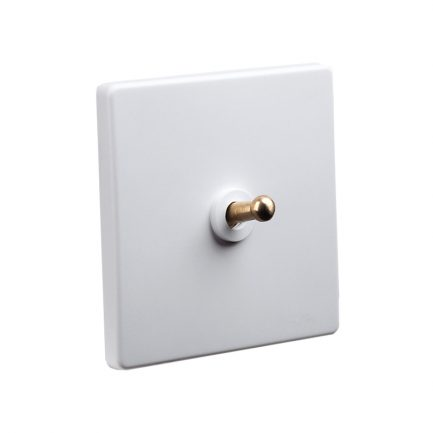 White Brass Toggle Light Switch, 1 Lever
