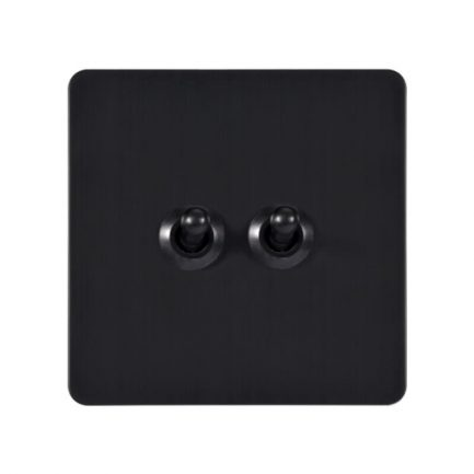 Antique Black 2 Gang Toggle Wall Switch