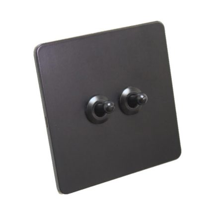Antique Black Toggle Light Switch, 2 Lever