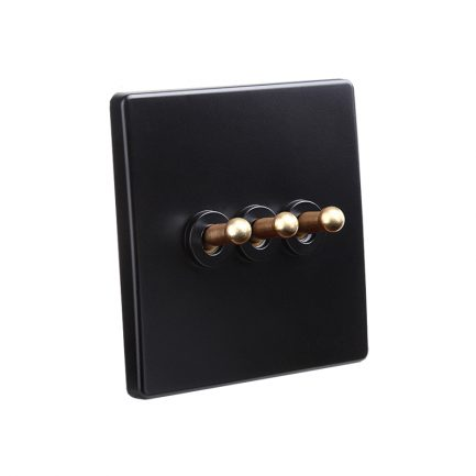 Classy Black Brass Toggle Light Switch, 4 Lever