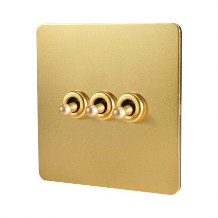 Bastille Gold Toggle Light Switch 3 levers