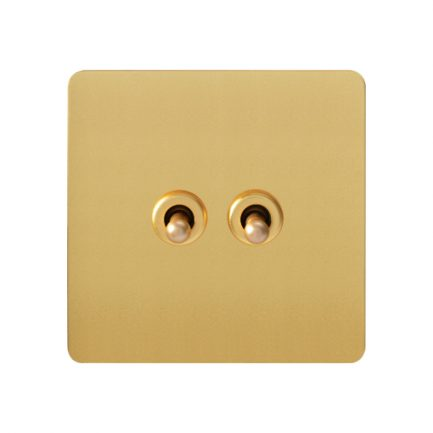 Gold 2 Gang Toggle Wall Switch