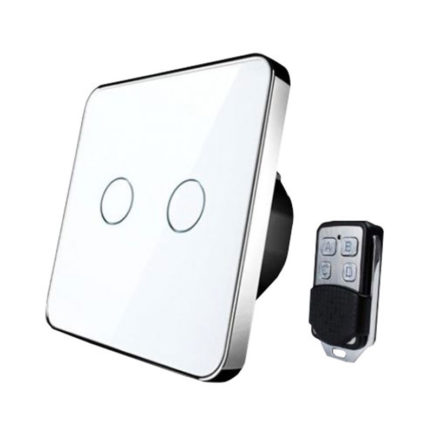 Houdini White Smart Remote Light Switch, 2 Gangs
