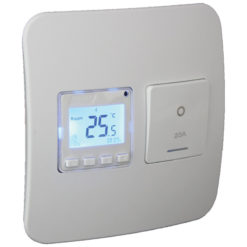 Digital Thermostat with Isolator Switch - White